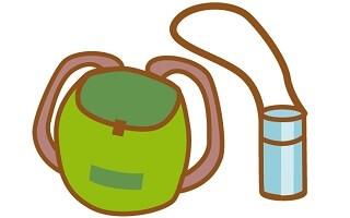 リュックサックと水筒