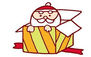 プレゼント箱の中にいるサンタ