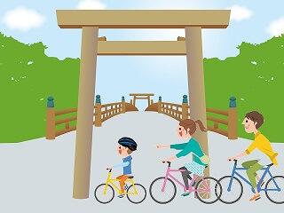 神社へサイクリング